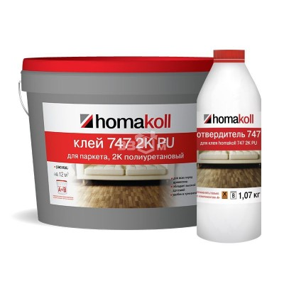 Полиуретановый клей Homakoll для паркета (*, PU 747, 800-1400 г/м2, двухкомпонентный, срок хранения 12 мес, морозостойкий) 10л/ комп. А + Комп В
