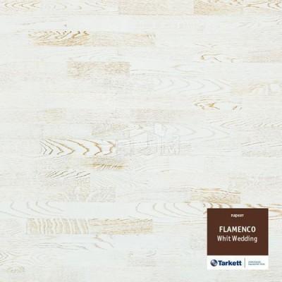 Паркетная доска Tarkett FLAMENCO 3-х полосная White Wedding (БелыйЗолотой), PL